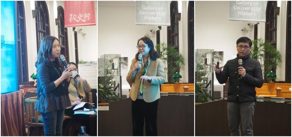 左起為臺大臺文所教授黃美娥、臺師大學臺語文系教授林芳玫、東華大學華文系教授吳明益